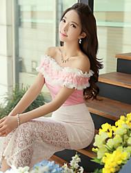 DABUWAWA® Femme Epaules Dénudées Sans Manches T-shirt Rose-D15BTS099