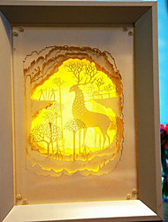 US Plug LED Creative Paper Carving 3D Decorative Christmas Night Light Christmas Elk Forest
