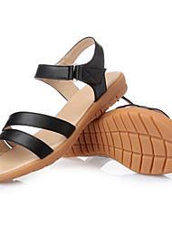 Damen-Sandalen-Kleid-PVC-Keilabsatz-Vorne offener Schuh-Schwarz / Beige