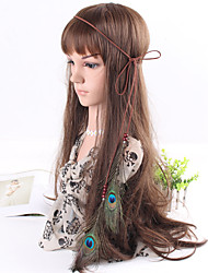 Women's Simple Bohemia Style Feather Beads Pendant Weave Headbands 1 Piece