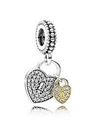 Double Silver Heart-Shaped Pendant Charm for Bracelet