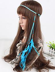 Women's Bohemia Simple Peacock Feather Beads Pendant Weave Headbands