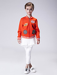 Girl's Sports Print Blouse / Jacket & Coat,Polyester Winter / Spring / Fall Black / Orange