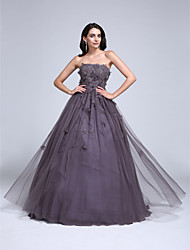 TS Couture® Prom Dress Ball Gown Strapless Floor-length Tulle with Appliques / Beading / Flower(s)