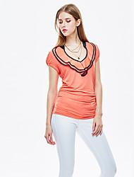 les femmes heartsoul de sortir simples summersolid manches courtes col rond polyester blanc / orange / spandex mince