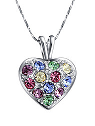 HKTC Women's Lovely Gift Jewelry Concise 18k White Gold Plated Multicolor Crystal Heart Shape Pendant Necklace