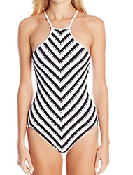 Womens Sexy High Neck Backless Stripe One Piece Swimsuit