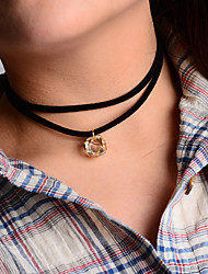Women's Choker Necklaces Pendant Necklaces Layered Necklaces Zircon Cubic Zirconia Alloy Fashion Golden Jewelry Party Daily Casual 1pc