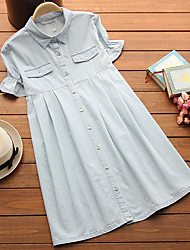 Shirt Collar Layered Maternity Dress,Cotton Knee-length Short Sleeve