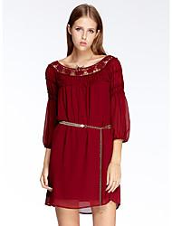 mulheres heartsoul de sair vestido solto simples, em torno do pescoço jacquard acima do joelho ¾ manga vermelha poliéster verão