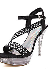 Черный / Белый-Женская обувь-На каждый день-Полиуретан-На толстом каблуке-На каблуках-Обувь на каблуках
