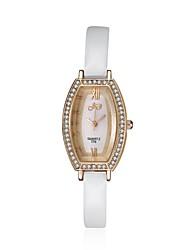2016 Luxury Noble Fashion Quartz Diamond Rose Gold Case White Leather Women Watches