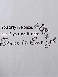 Once is Enough Words & Quotes Wall Stickers Plane Wall Stickers Decorative Wall Stickers, Home Decoration Wall Decals