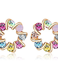 Colourful Crystal Earrings 18K Gold Plated Fashion Stud Earring Jewelry For Women Gifts