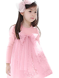 2016 Children Girls Summer Pink/Brown Dress Mesh Kids Dresses for Girls Clothes High Waist Girls Lace Dress for 2~7Years