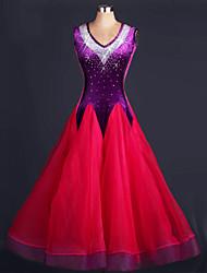 Tenue(Fuchsia Violet,Satin soyeux élastique Organza,Danse moderne)Danse moderne- pourFemme Paillettes Ruches Spectacle Danse de Salon