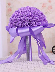 PE Foam Rose Flower Round Shape with Crystal Rhineston Decoration Bouquets for Bride Wedding