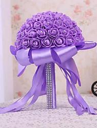 Fleurs de mariage Rond Roses Bouquets Mariage Satin / Satin élastique / Mousse / Strass Env.24cm