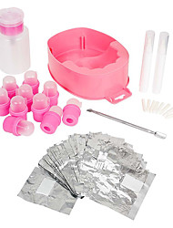 Gel Nail Polish Removal Kit-Acetone Pump Bottle Soaking Bowl Foil Wrap More (Random color)