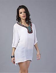 In Colour Damen Rundhalsausschnitt 1/2 Länge Ärmel Shirt & Bluse Weiß / Rot-42194734744