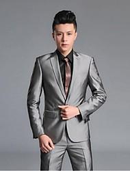 2017 costumes slim fit encoche simple boutonnage un bouton polyester / rayonne solides 2 pièces noir / gris droit à rabats