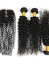 "4 Pcs/Lot 8""-26"" Virgin Peruvian Kinky Curly Human Hair Weave Extensions with Closure 4""x4"""