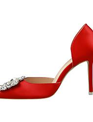Damen-High Heels-Lässig-Seide-Stöckelabsatz-Absätze-Schwarz / Grün / Rosa / Rot / Grau / Gold