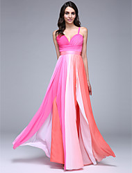 TS Couture® Formal Evening Dress Sheath / Column Spaghetti Straps Floor-length Chiffon with Side Draping