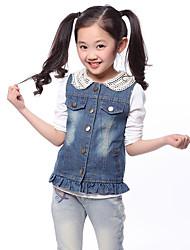 Girl's Cotton Spring/Fall Fashion Pearl Collar Cowboy Waistcoat