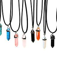 Modische Halsketten Anhängerketten Schmuck Alltag / Normal Modisch Edelstein Durchsichtig / Schwarz / Rot / Blau / Grün / Lila 1 Stück