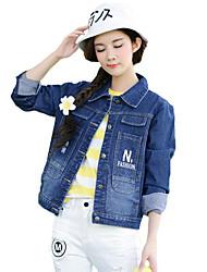 Feminino Jaqueta jeans Para Noite Moda de Rua Primavera,Sólido Algodão Poliéster Colarinho de Camisa Manga Longa