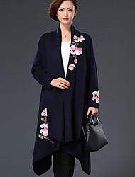 Mulheres Casaco Formal Chinoiserie Inverno,Bordado Azul / Vermelho / Preto / Cinza Lã Colarinho de Camisa-Manga Longa Grossa