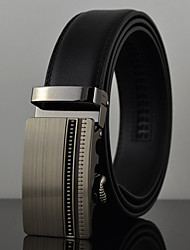 Men Fashion Business Automatic Buckle Genuine Leather Wide Belt,Work / Casual