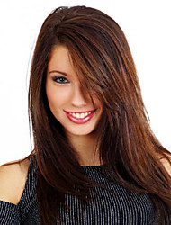 20 inch Capless Women Long Dark Brown Tone Synthetic Wigs Medium Bang with Free Hair Net