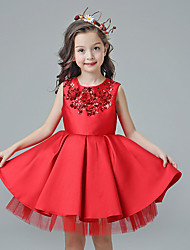 A-line Knee-length Flower Girl Dress - Cotton / Satin / Tulle Sleeveless Jewel with Flower(s) / Sequins