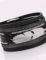 Hot Style Metal Leaves Feathers PU Leather Multilayer Personality Ultra Wide Bracelet Alloy Magnetic Clasp