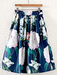 Women's Floral Blue / White Skirts,Vintage Midi