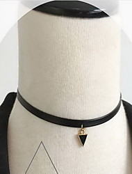 Black Fabric Lace Choker Necklace with Pendant