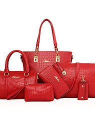 Women PU Formal / Casual / Office & Career / Shopping Tote / Bag Sets White / Red / Gray / Black