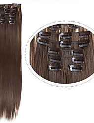 "Clip In Hair Extensions Synthetic Hair 22"" 7pcs/set #2 Natural Black 100g Long Black Hair Straight"