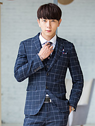 Suits Standard Fit Notch Single Breasted Two-buttons Polyester/Rayon(T/R) Checkered 3 Pieces Straight FlappedNone