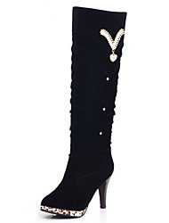 Women's Boots Winter Fashion Boots PU Casual Stiletto Heel Beading Black / Brown Others