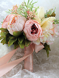 Wedding Flowers Free-form Roses / Peonies Elegant Biadal Bouquets Wedding Satin
