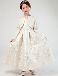 A-line Ankle-length Flower Girl Dress - Cotton / Satin Long Sleeve Queen Anne with