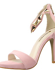 Women's Shoes   Comfort / Open Toe Sandals Casual Stiletto Heel Zipper Black / Pink / Red / Silver / Gray / Gold