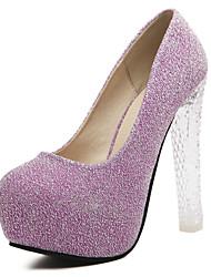 Фиолетовый / Серебристый-Женская обувь-Свадьба / Для праздника / На каждый день / Для вечеринки / ужина-Материал на заказ клиента-На