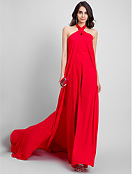 TS Couture® Formal Evening Dress Sheath / Column Halter Court Train Chiffon with
