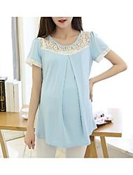Maternity Round Neck Lace Shirt,Polyester Short Sleeve