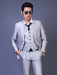 Suits Tailored Fit Notch Single Breasted One-button Cotton Solid 3 Pieces