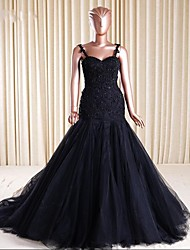 Formal Evening Dress Fit & Flare Spaghetti Straps Court Train Lace / Tulle with Appliques / Beading